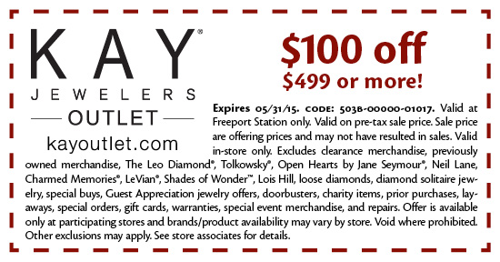 Jewelry Coupons and Promotions: Whether you are looking for a deal on this month's birthstone, or some of the best clearance jewelry, Kay always has a jewelry promotion going on. View our latest jewelry coupons and promotions on our Offers Page for some of the lowest jewelry prices and save big on discounted jewelry.