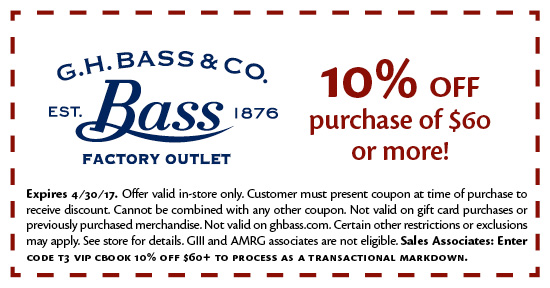 G.H. Bass & Co. outlet store locations