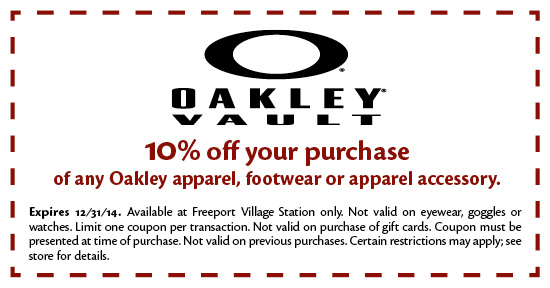 Coupons available for use at freeport village station premium outlet
