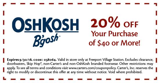 Oshkosh in store coupon