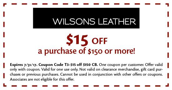 Wilsons leather coupons 2018